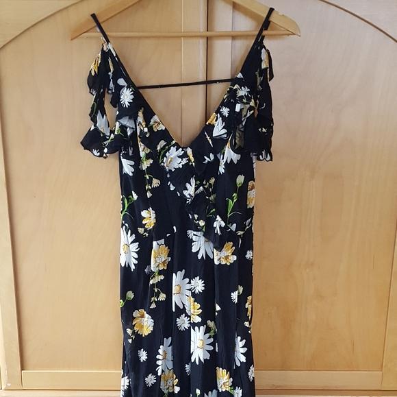 Midi black white floral cold shoulder dress